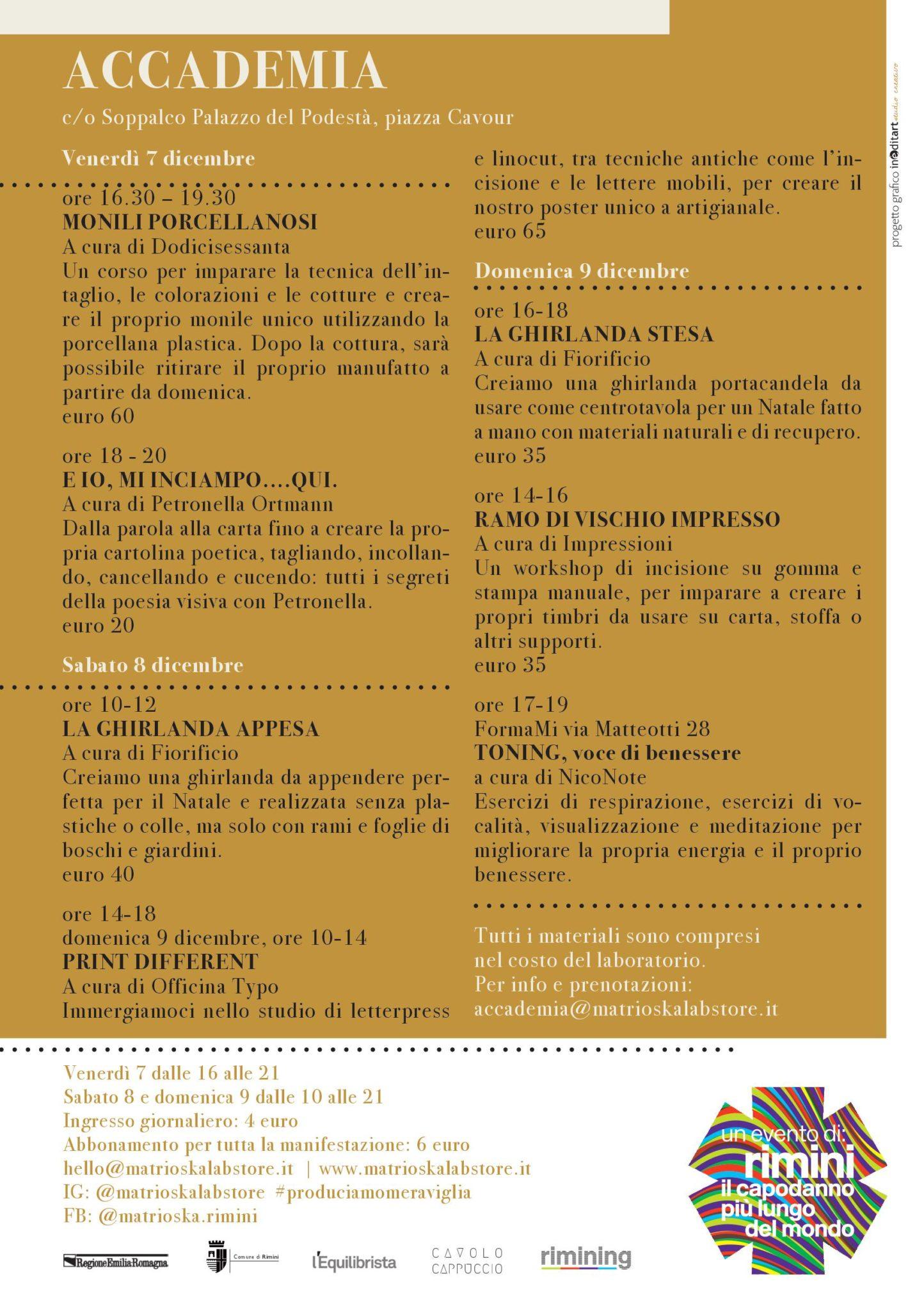 Programma Accademia / Matrioska Labstore #14 / Rimini 7-8-9 dicembre 2018