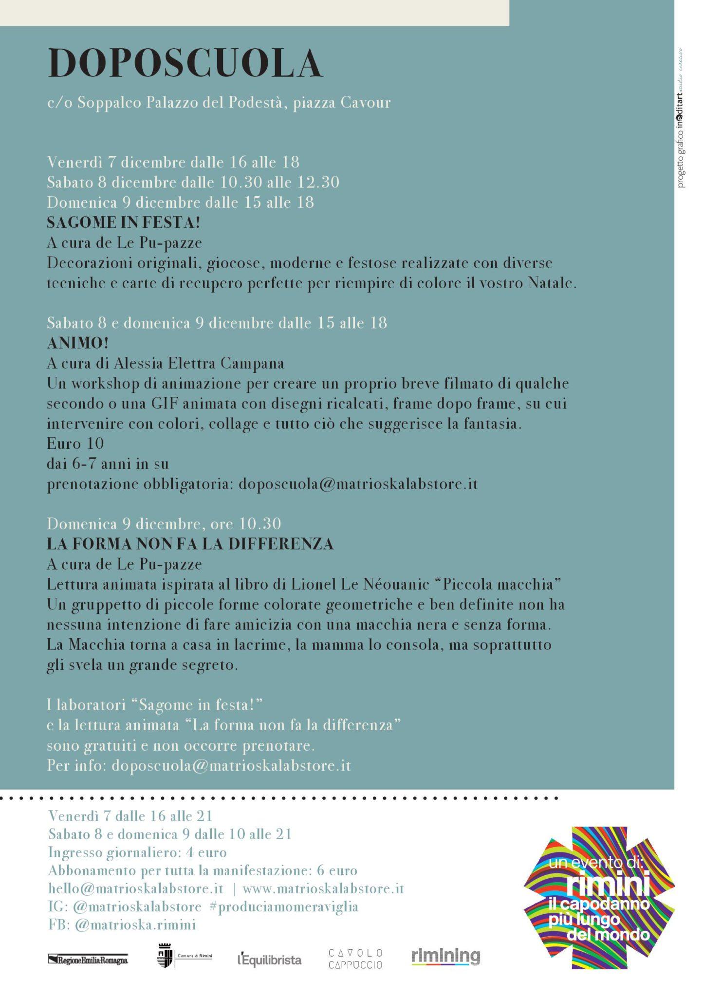 Programma Doposcuola / Matrioska Labstore #14 / Rimini 7-8-9 dicembre 2018