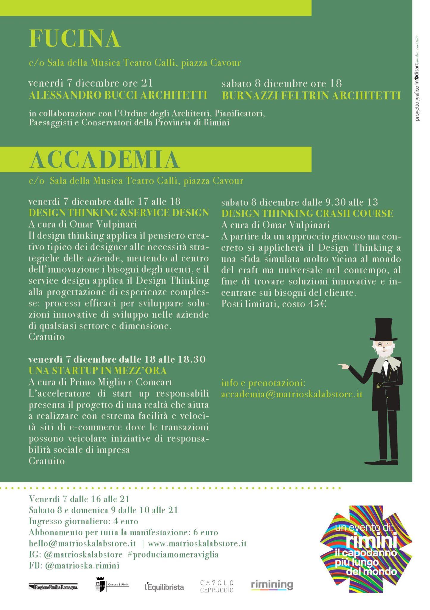 Programma Fucina e Accademia / Matrioska Labstore #14 / Rimini 7-8-9 dicembre 2018
